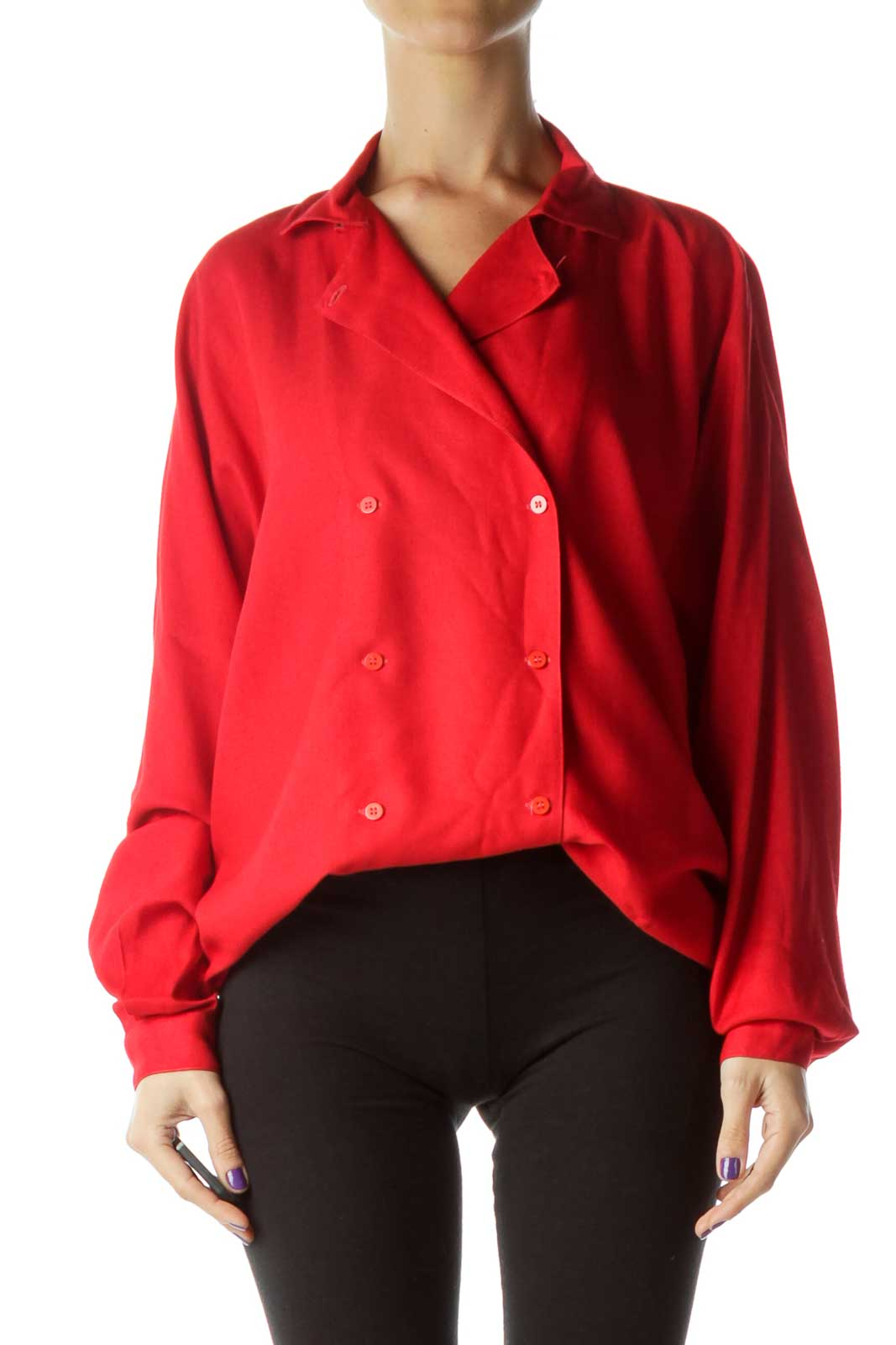 Red Vintage Bat-Sleeve Double Breasted Shirt