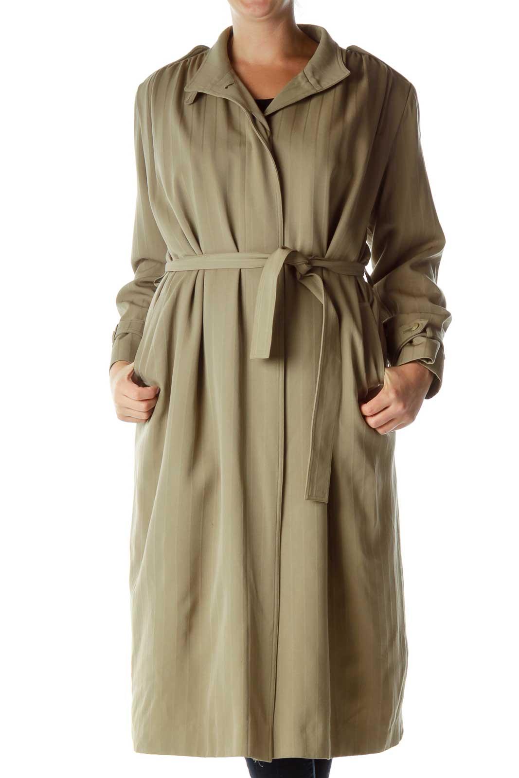 Green Pinstripe Long Trench Coat