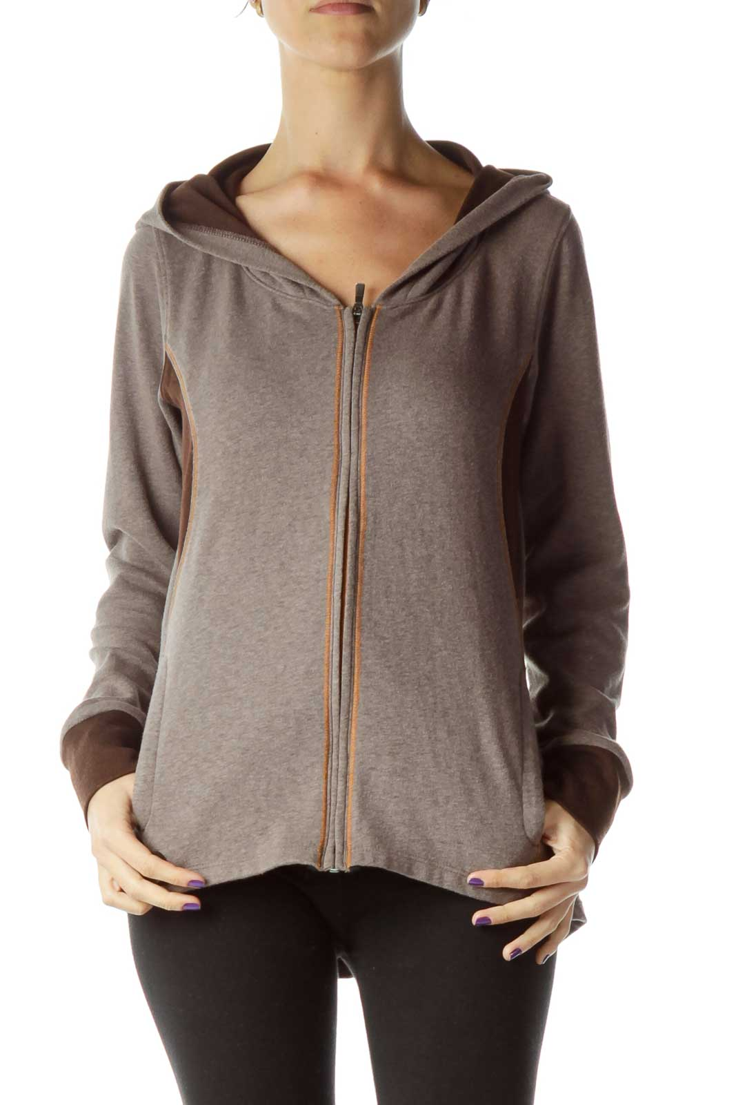 Brown Hooded Zip Up Jacket