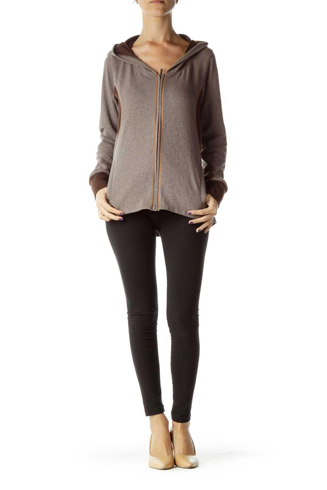 Brown Hooded Zip Up Jacket