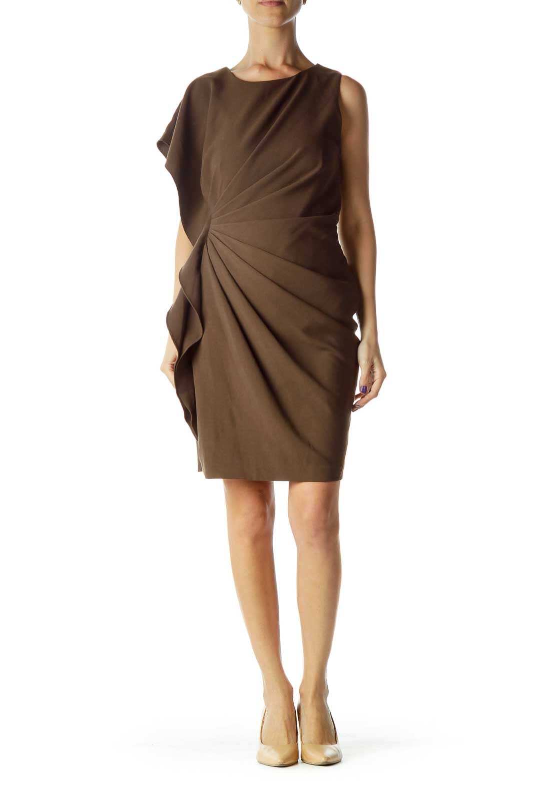 Brown Scrunched Cocktail Dress