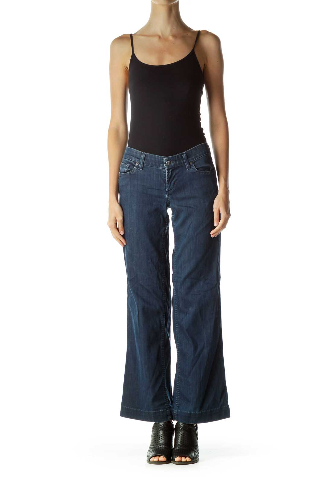 Blue Wide-Leg Denim Jeans