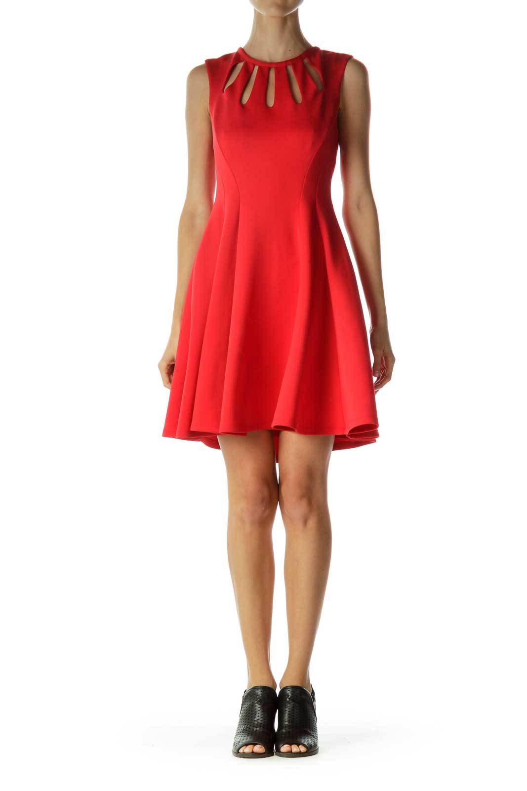 Red Cut-Out Neckline Flared Cocktail Dress