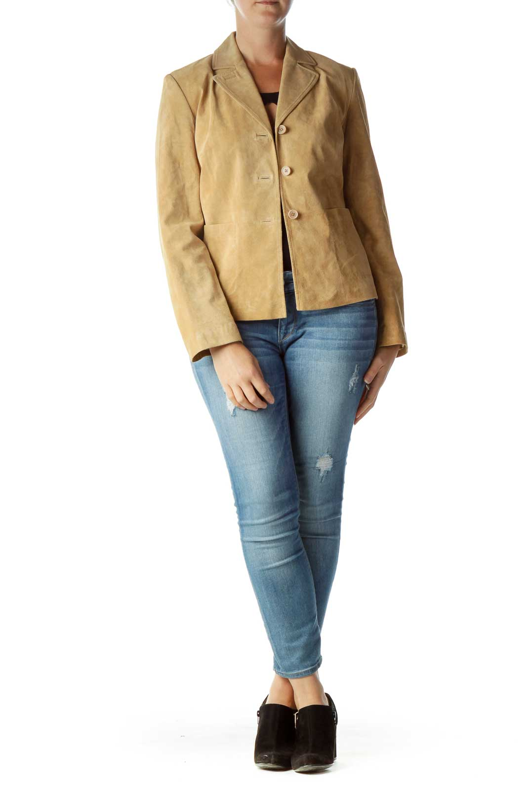 Beige Leather Buttoned Jacket