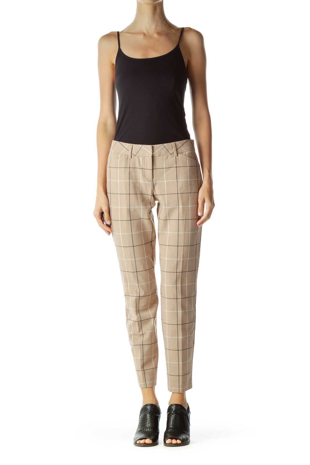 Beige Checkered Tapered Pants