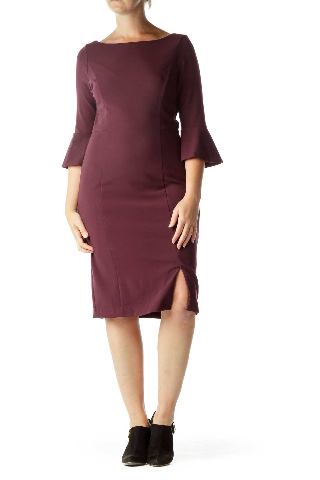 Purple Bell-Sleeve Fitted Dress