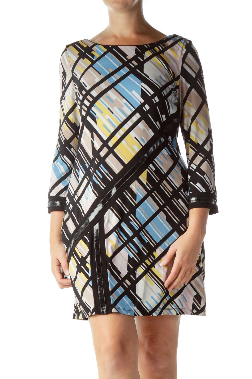 Multicolor Long Sleeve Shift Dress