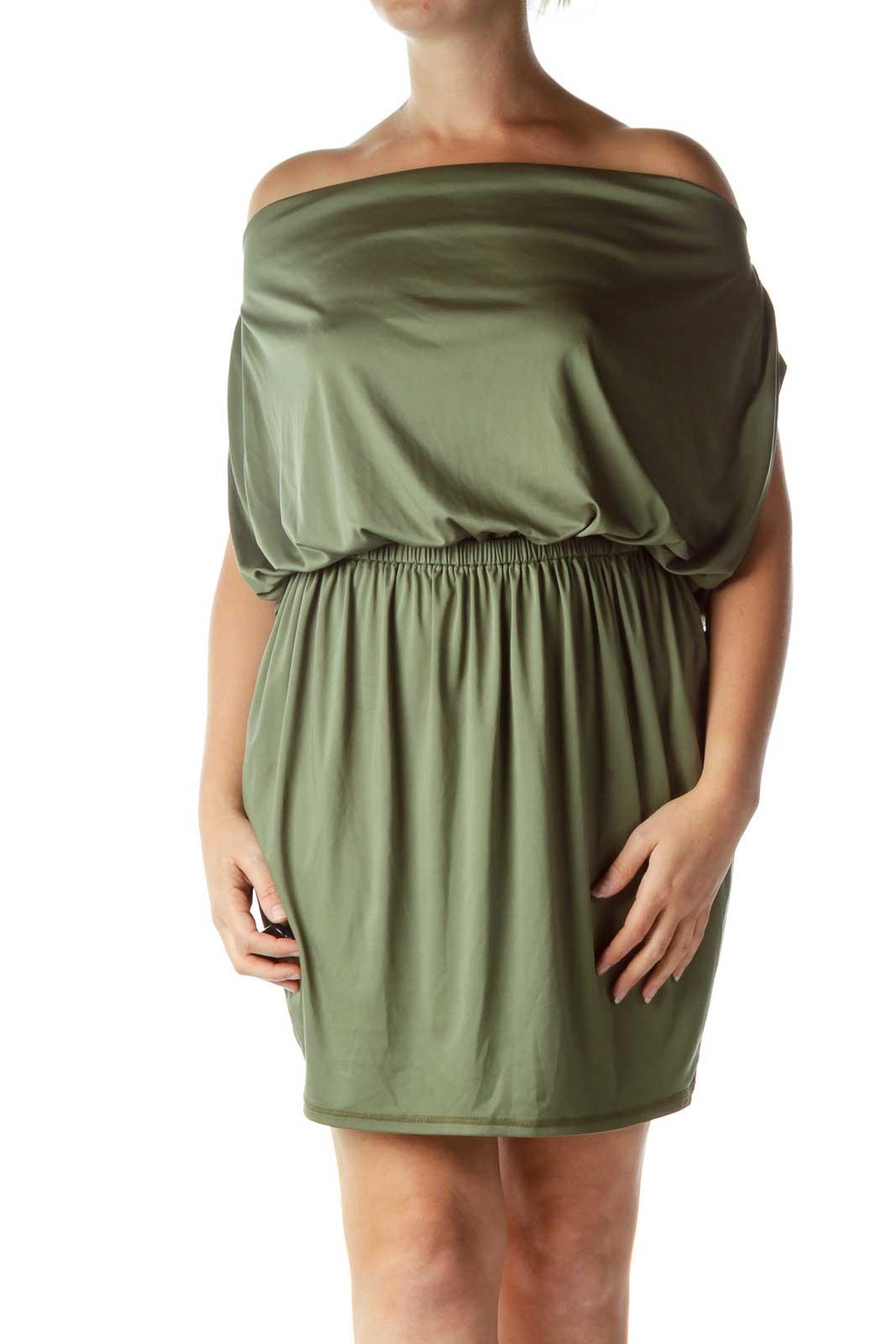 Green Satin Cowl Neck Cocktail Dress
