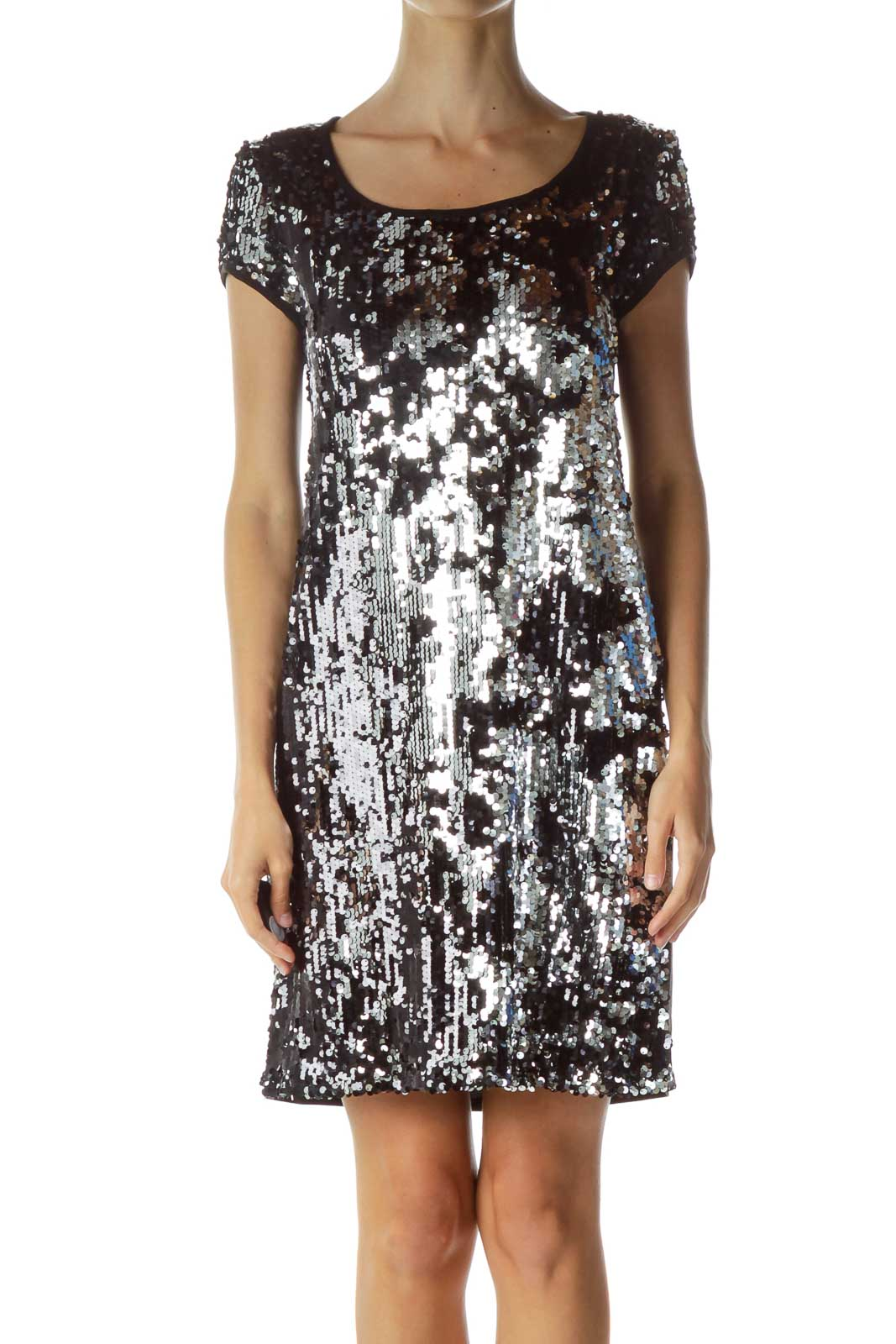 Black Silver Sequined Cocktail Dress