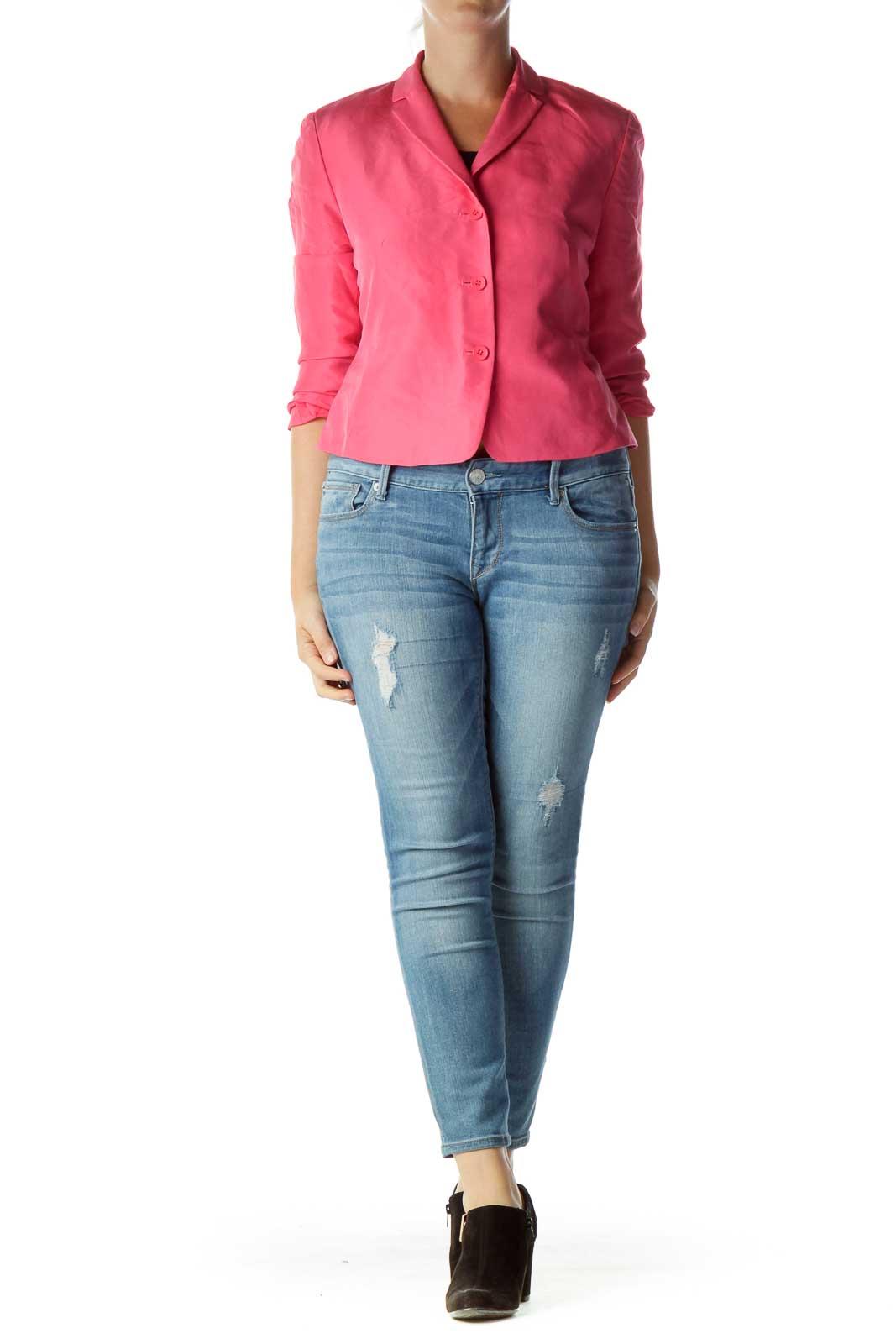 Pink Silk Buttoned Blazer