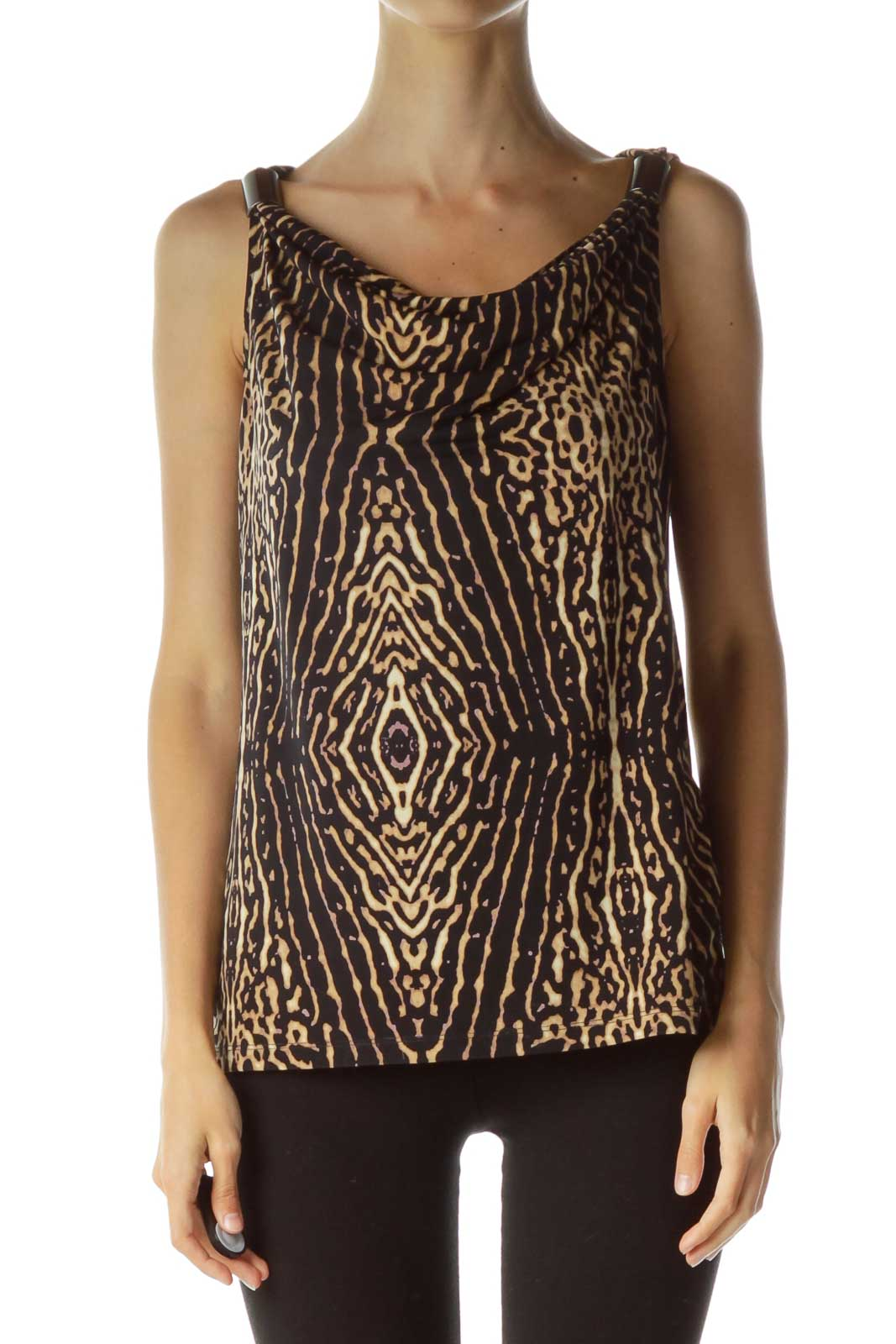 Black Brown Animal Print Blouse
