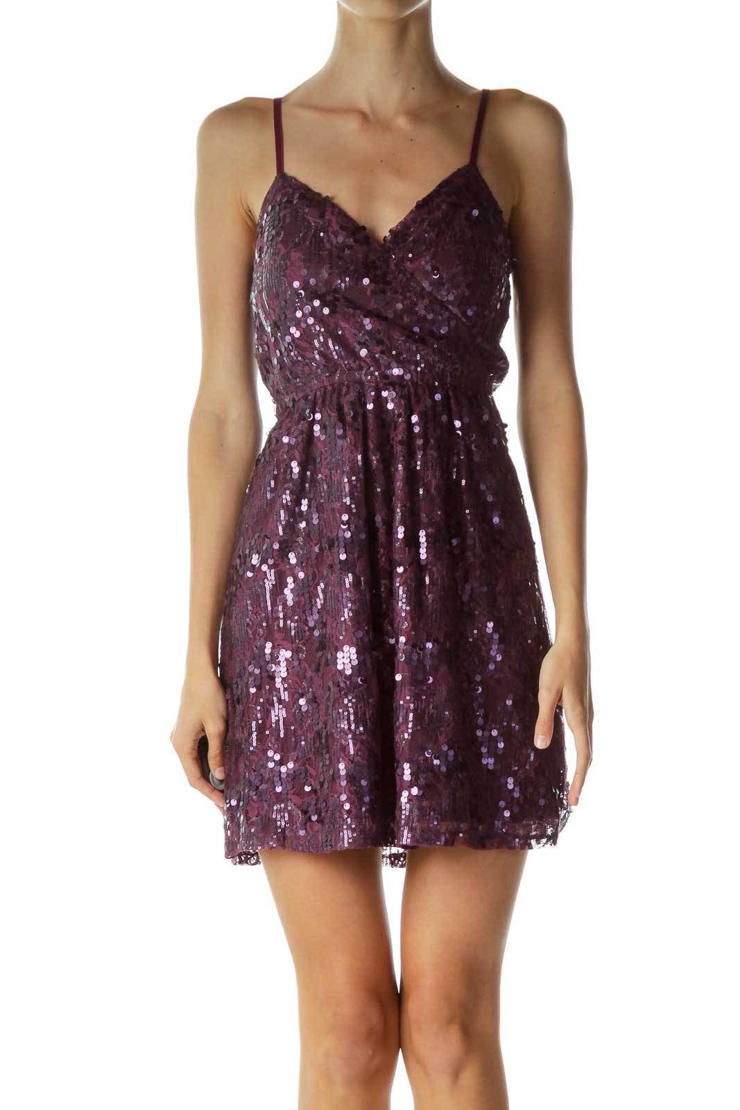 Purple Sequined Cocktail Dress