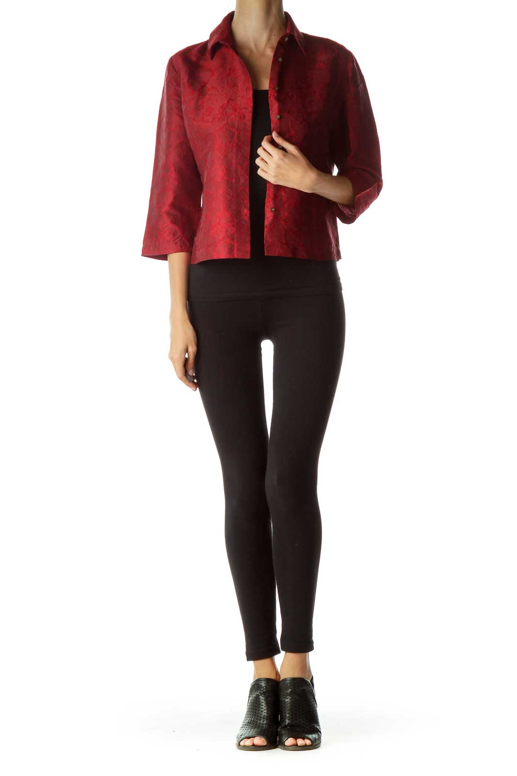 Red Embroidered Silk Shirt
