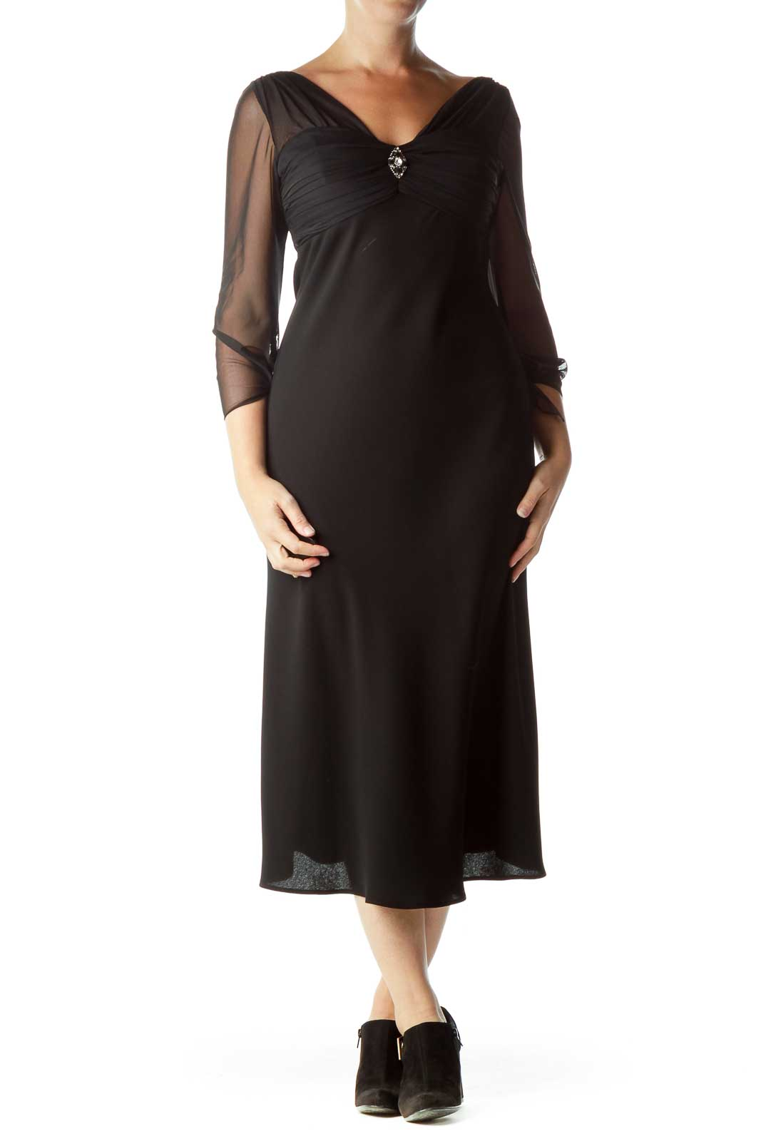 Black Sheer Evening Dress with Brooch