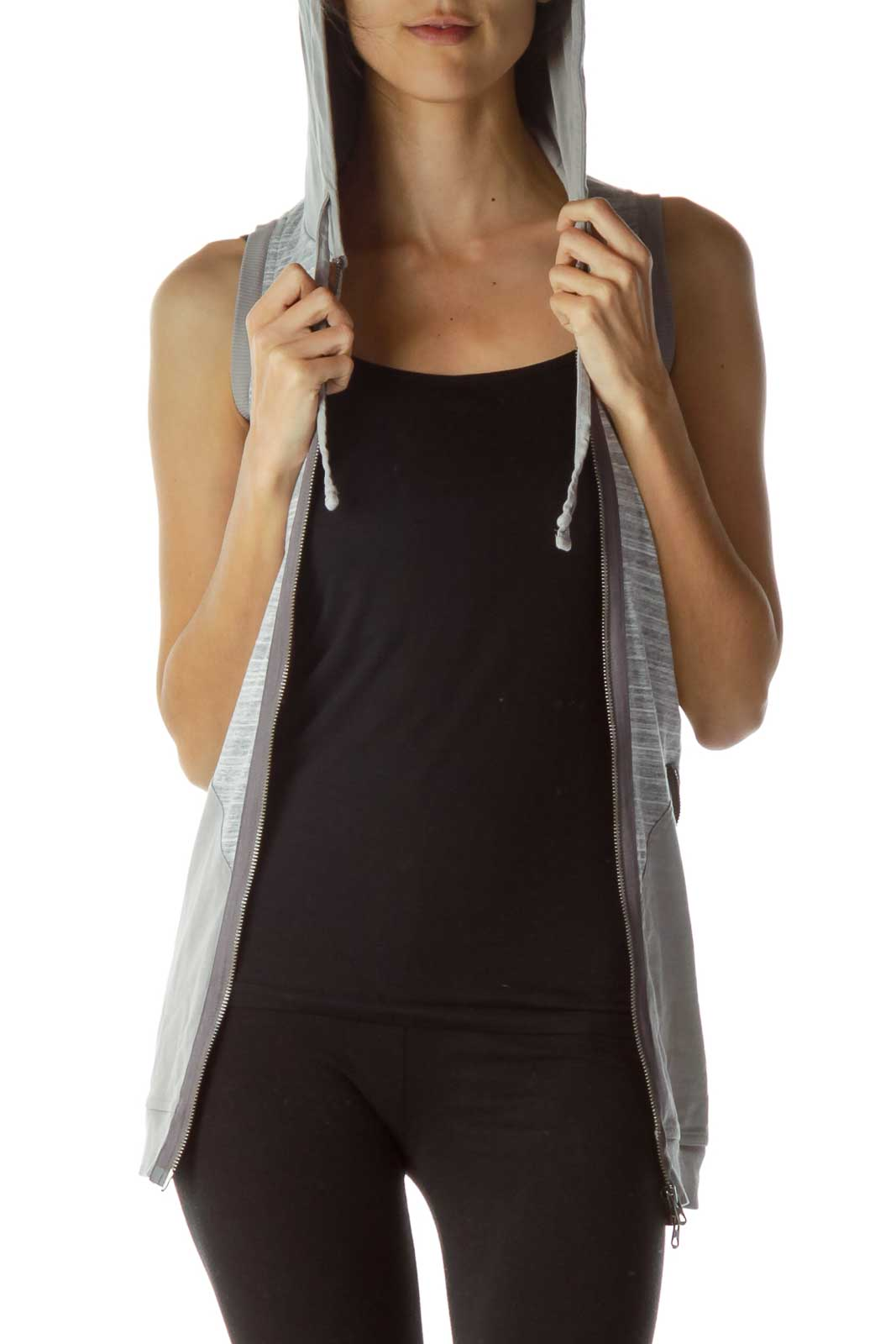 Gray Hooded Zipper Vest