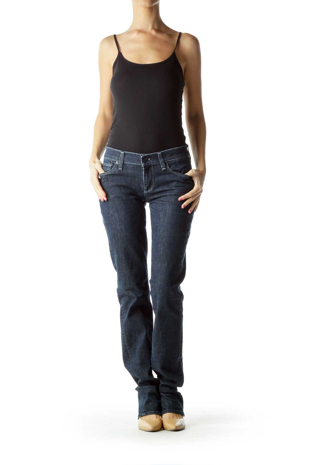 Blue Straight-Leg Jeans