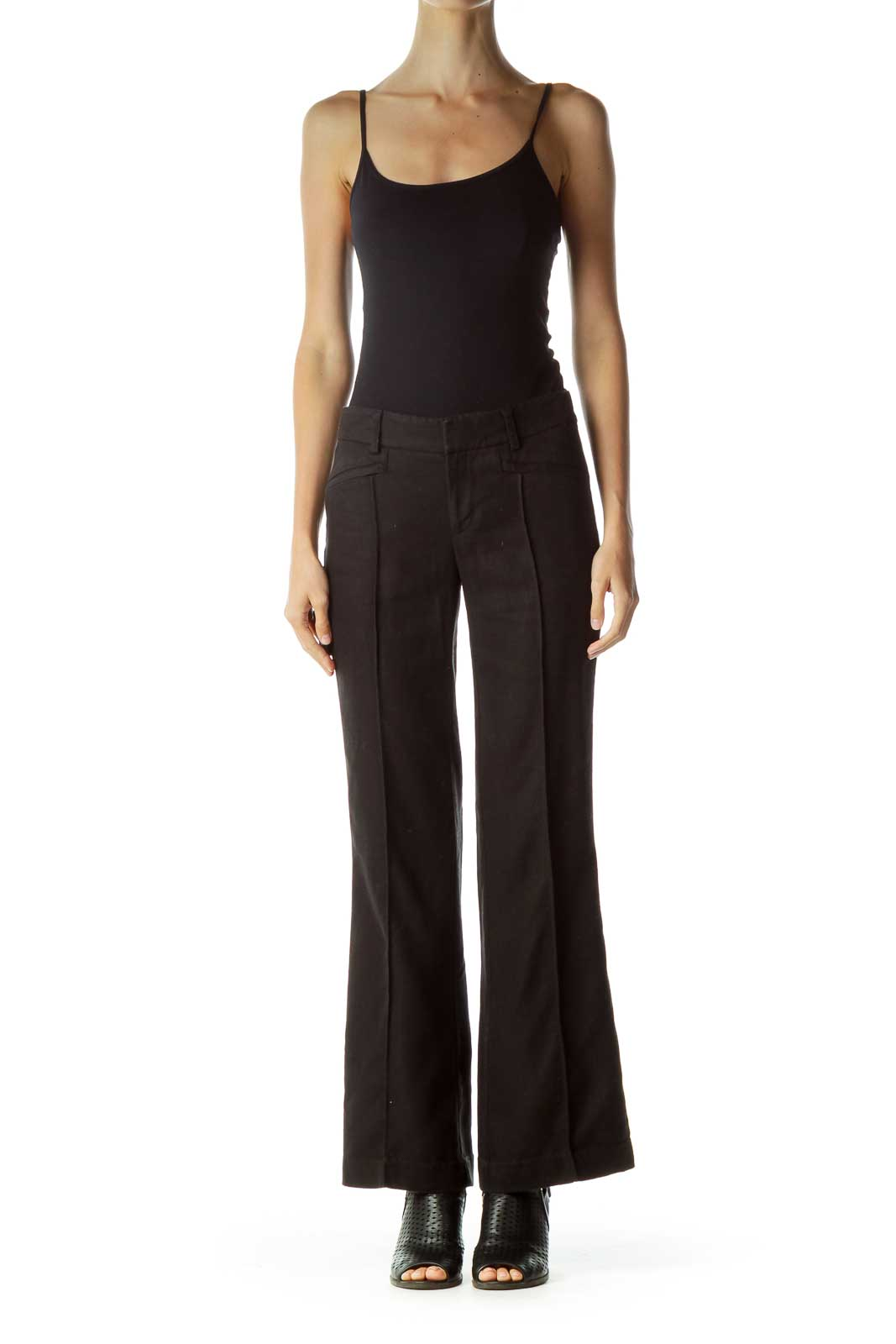 Black Linen Wide-Leg Pants