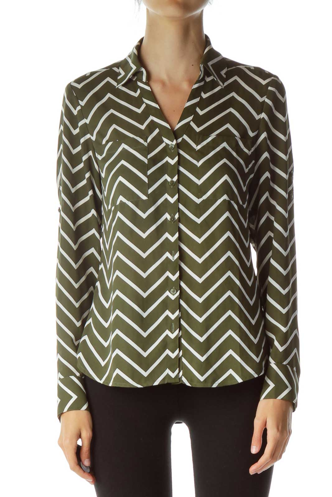 Green White Pinstripe Shirt