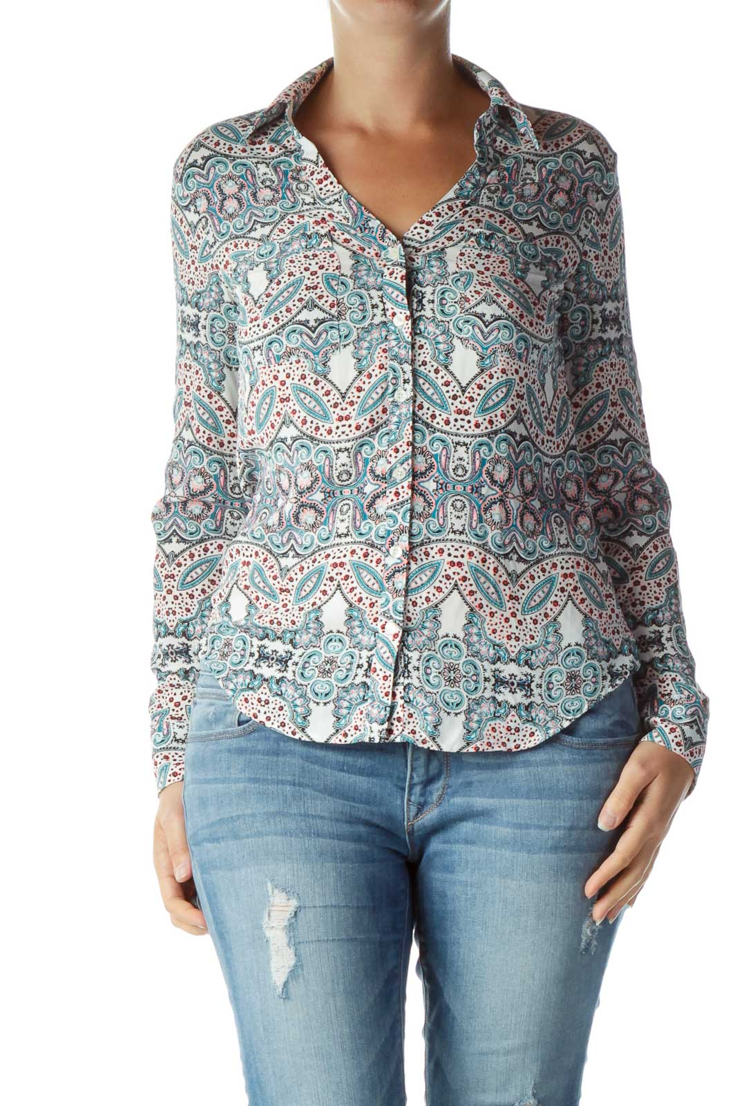 Multicolor Paisley Collared Shirt