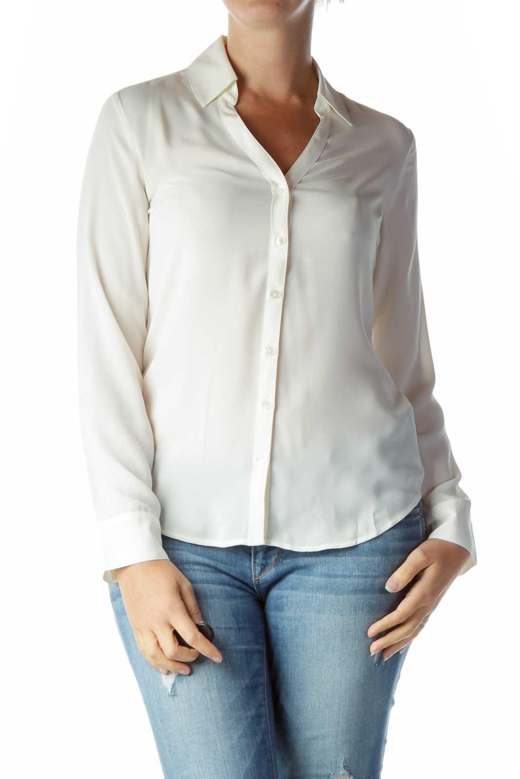 Cream Sheer Collared Shirt