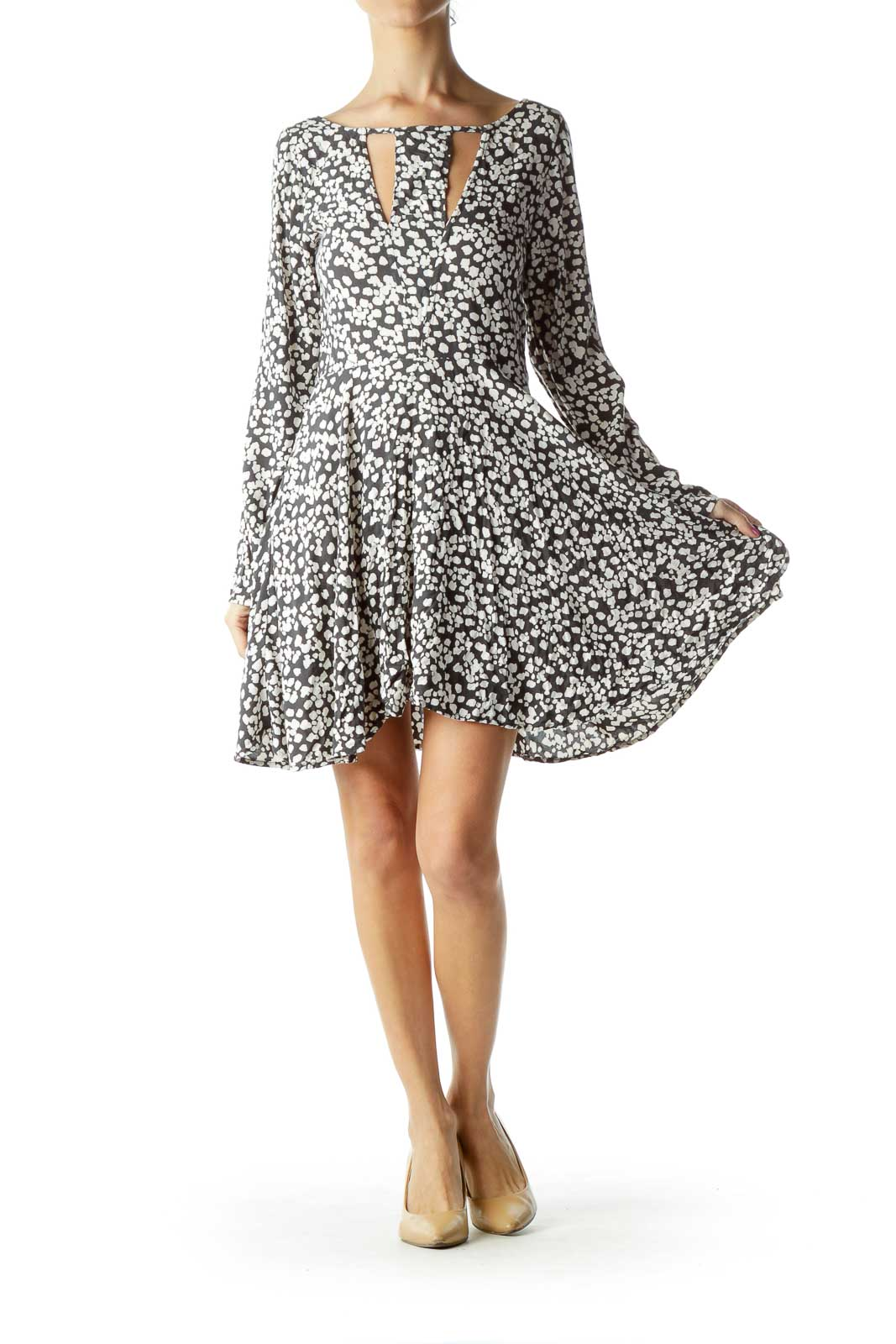 Gray White Long Sleeve Printed Day Dress