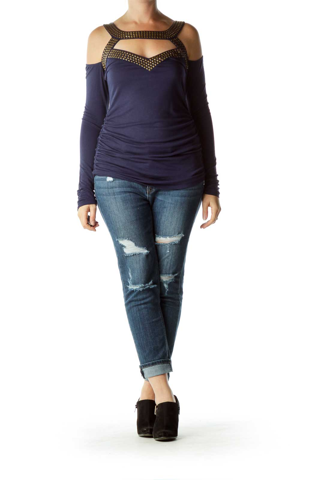 Navy Gold Studded Cut-Out Long Sleeve Top