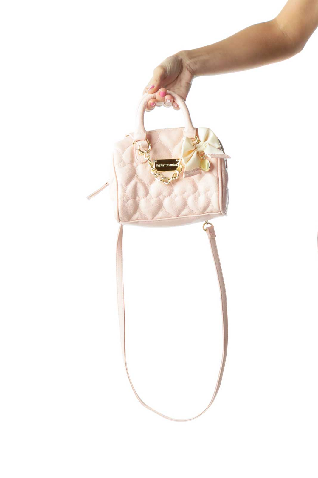 Pink Heart Bow Detail Satchel