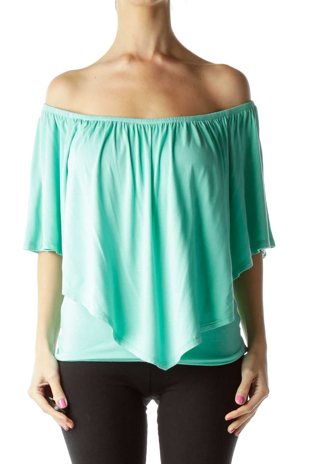 Green Off-the-Shoulder Blouse