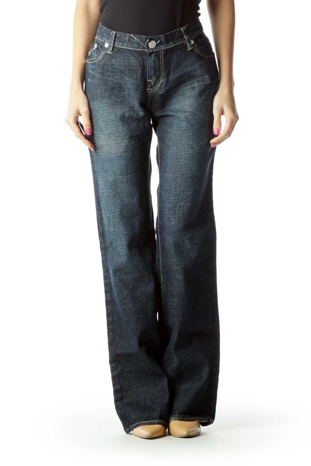 Navy Wide-Leg Denim Jeans