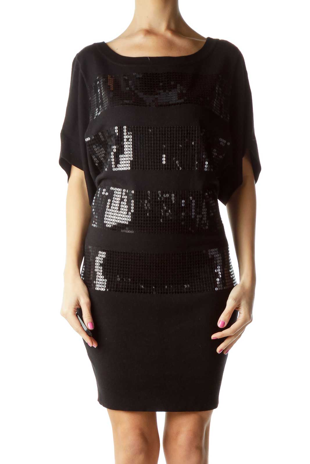 Black Sequined Striped Knit Dress