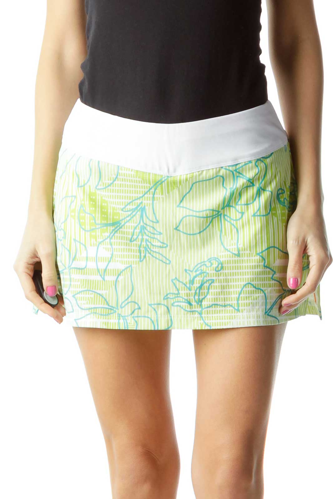 Green White Printed Skort