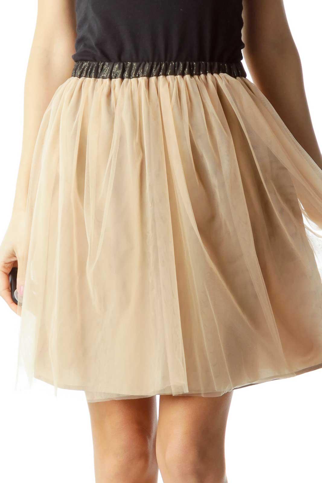 Beige Black Tool Pleated Skirt
