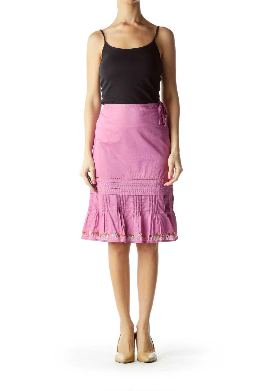 Purple Pleated Metallic & Sequin Skirt