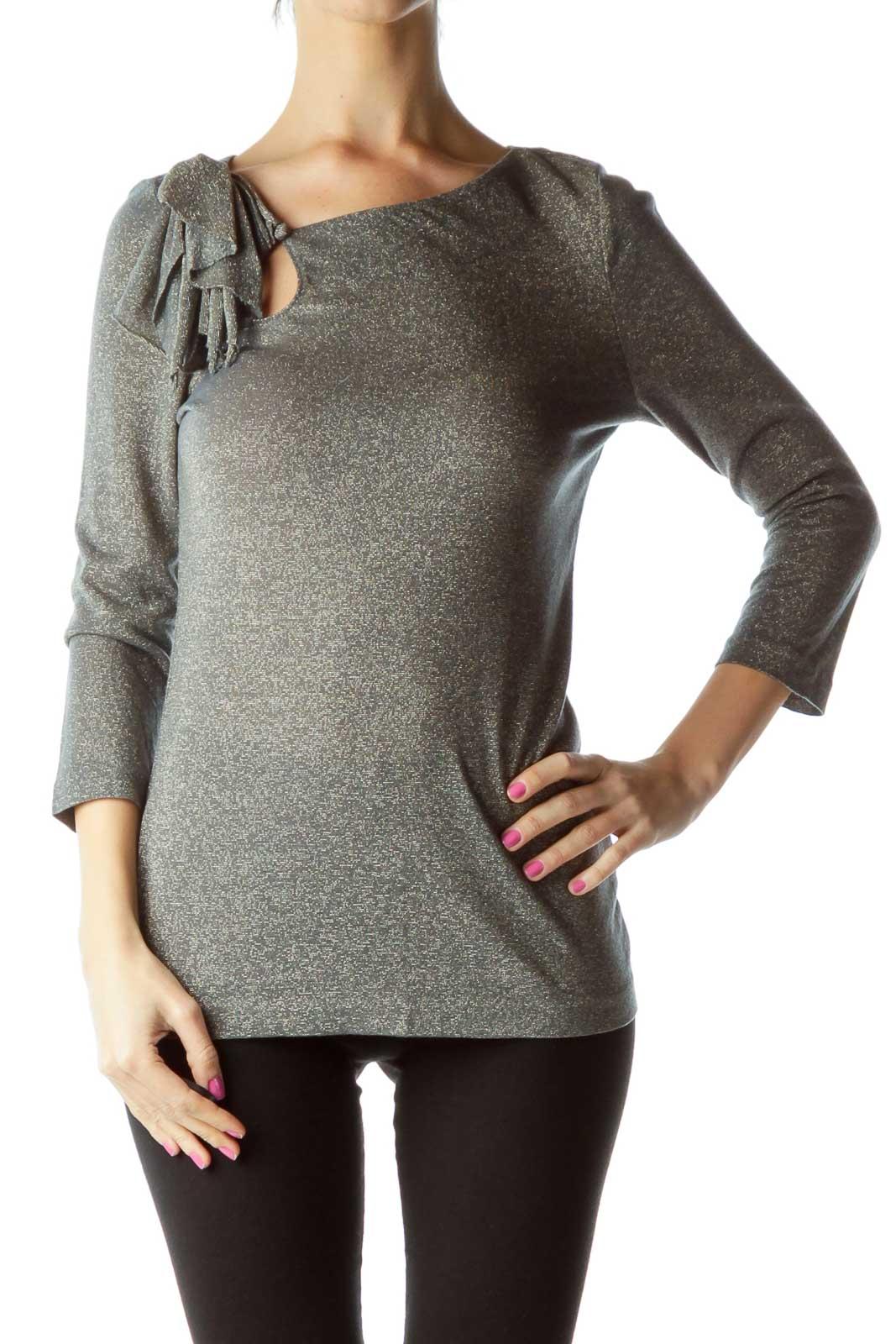 Gray Metallic 3/4 Sleeve Blouse