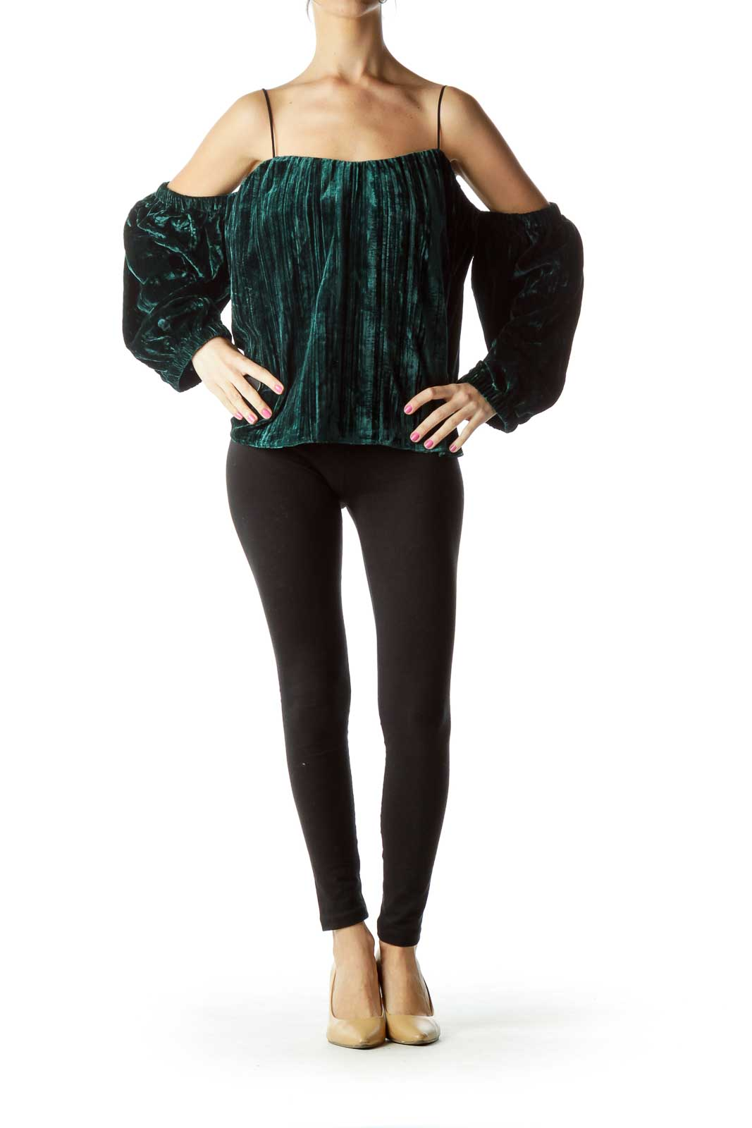 Green Velvet Off-the Shoulder Blouse
