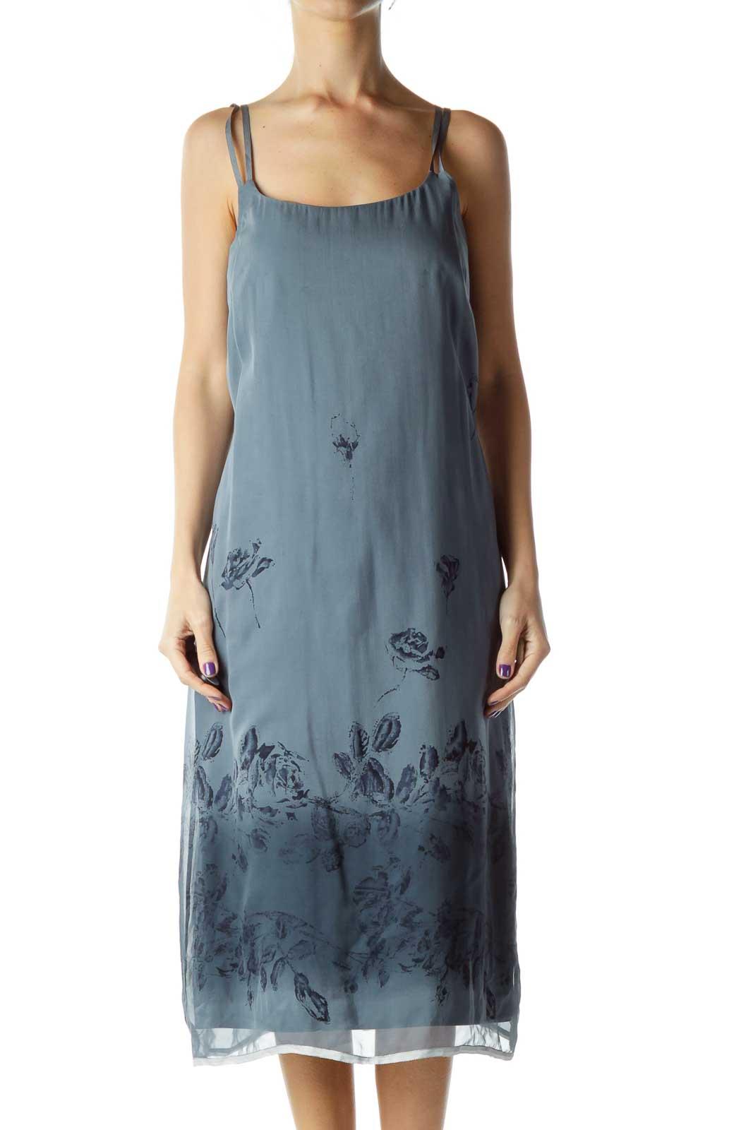 Gray Tonal Print Shift Dress