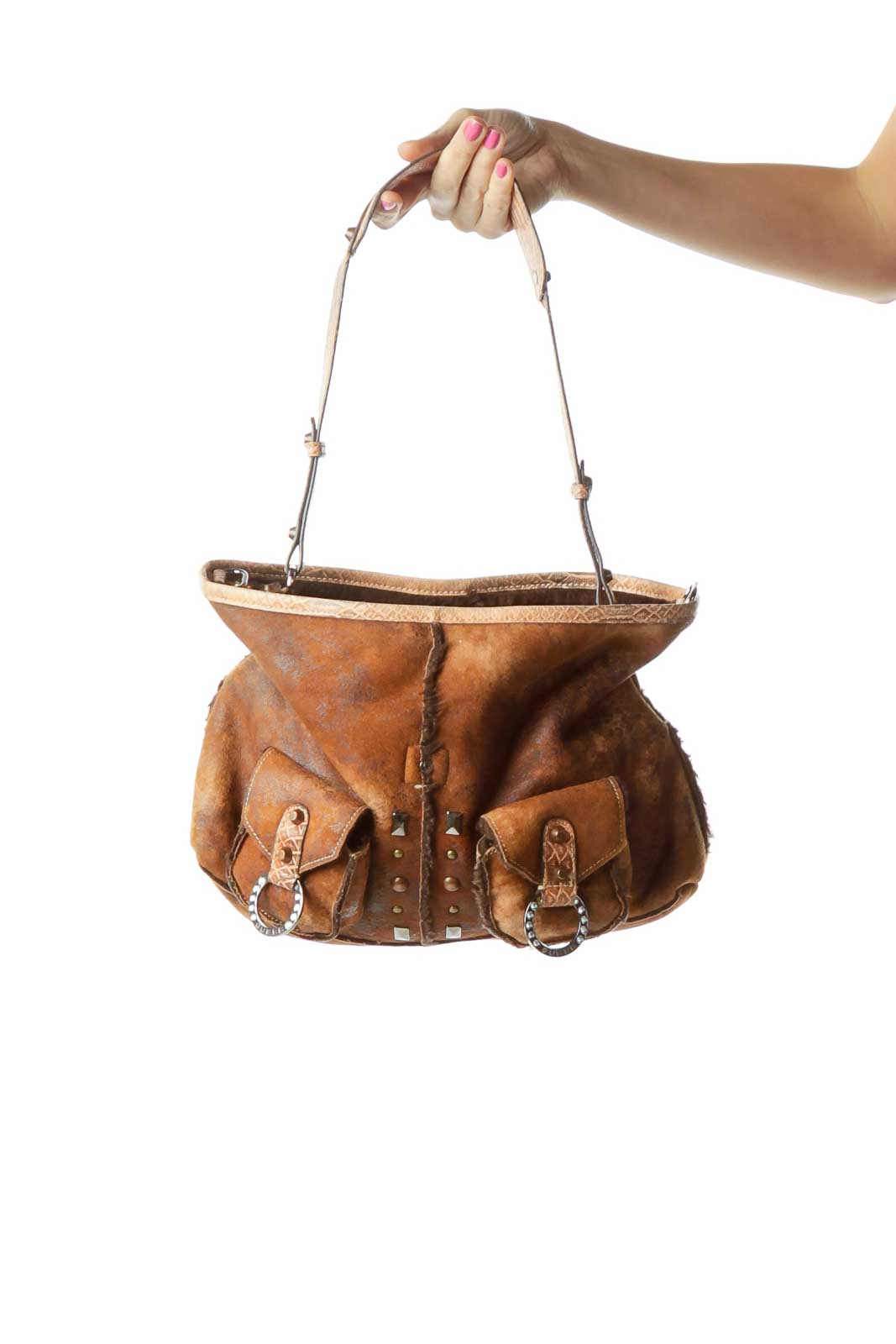 Brown Pocketed Studded Faux Cow Hide Satchel