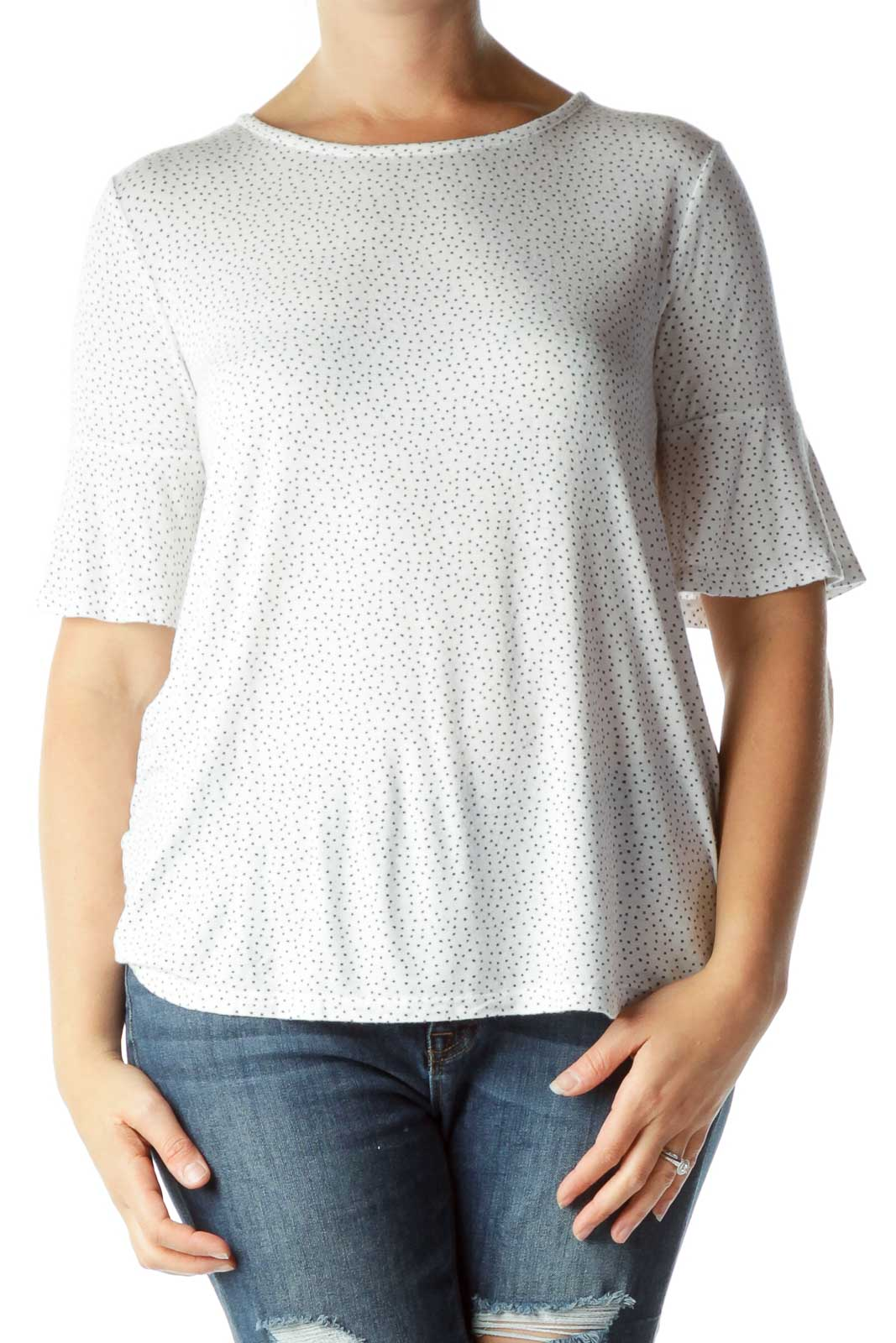 White Polka Dot Mid-Sleeve Top
