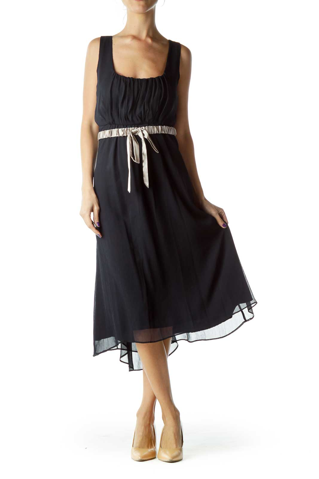 Navy Empire Waist Cocktail Dress