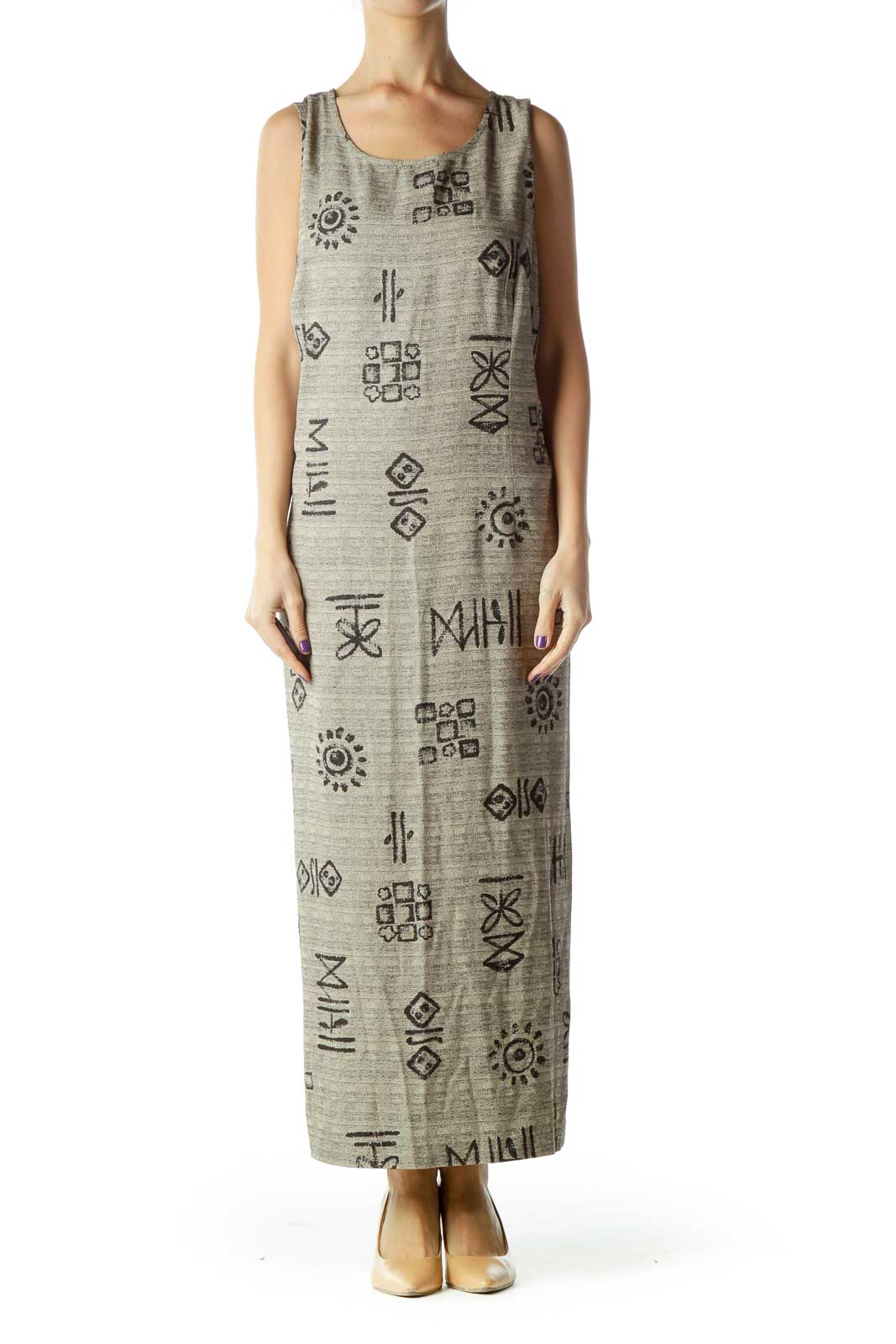 Beige Printed Sleeveless Maxi Dress