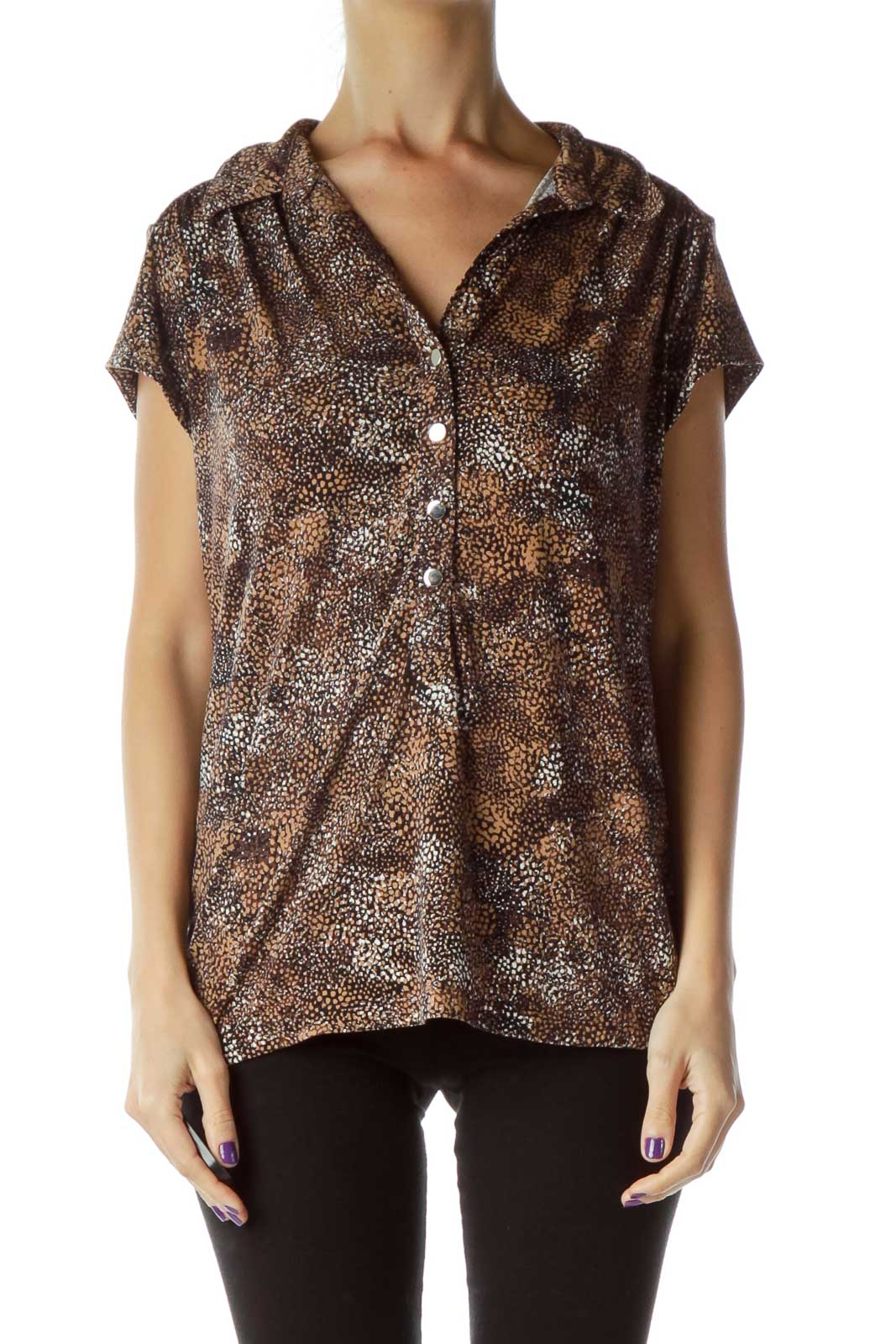 Brown Printed Polo Shirt