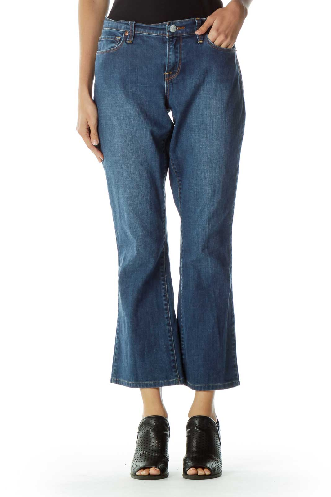 Blue 7/8 Boot Cut Jeans