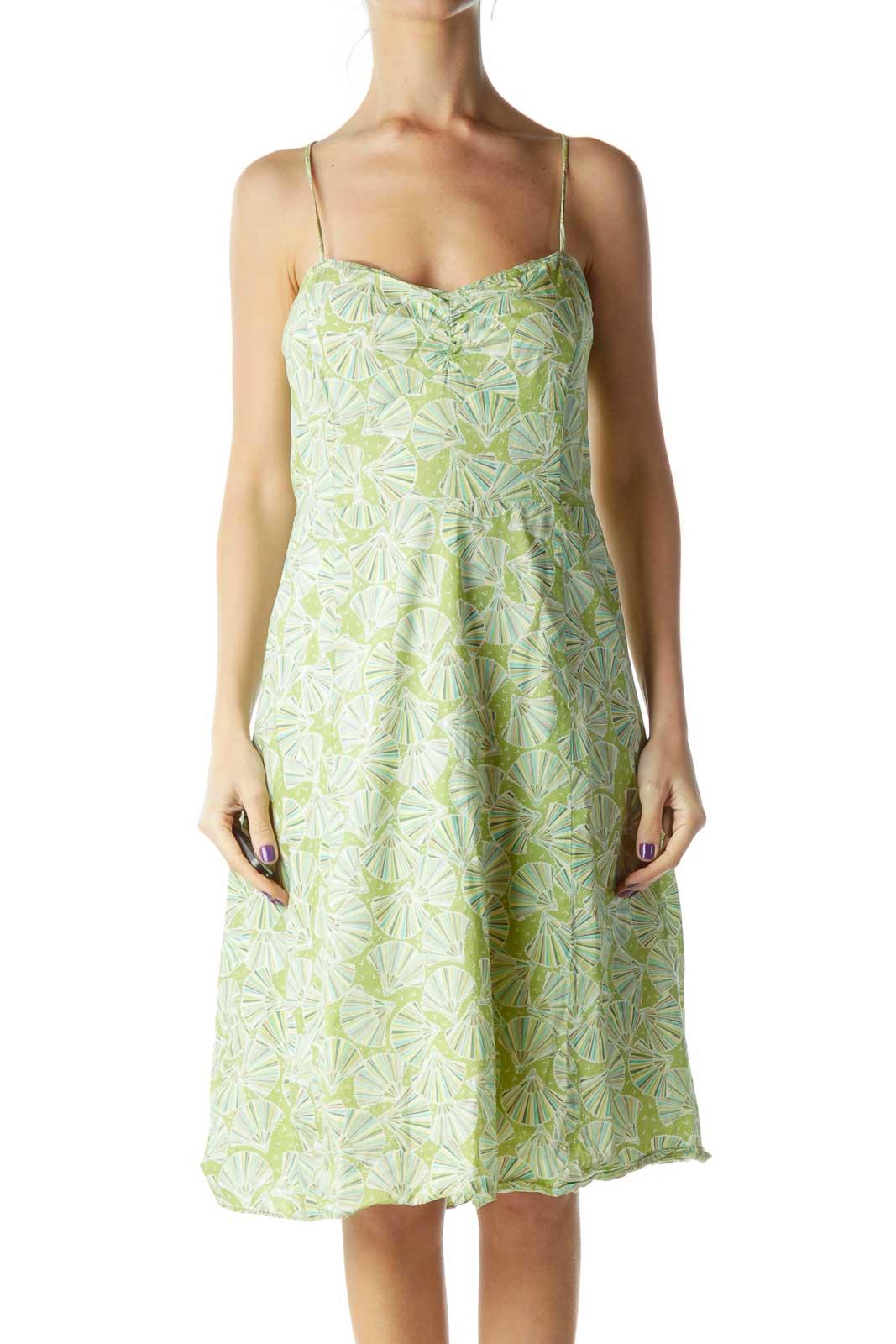 Green Fan Print Spaghetti Strap A-Line Dress