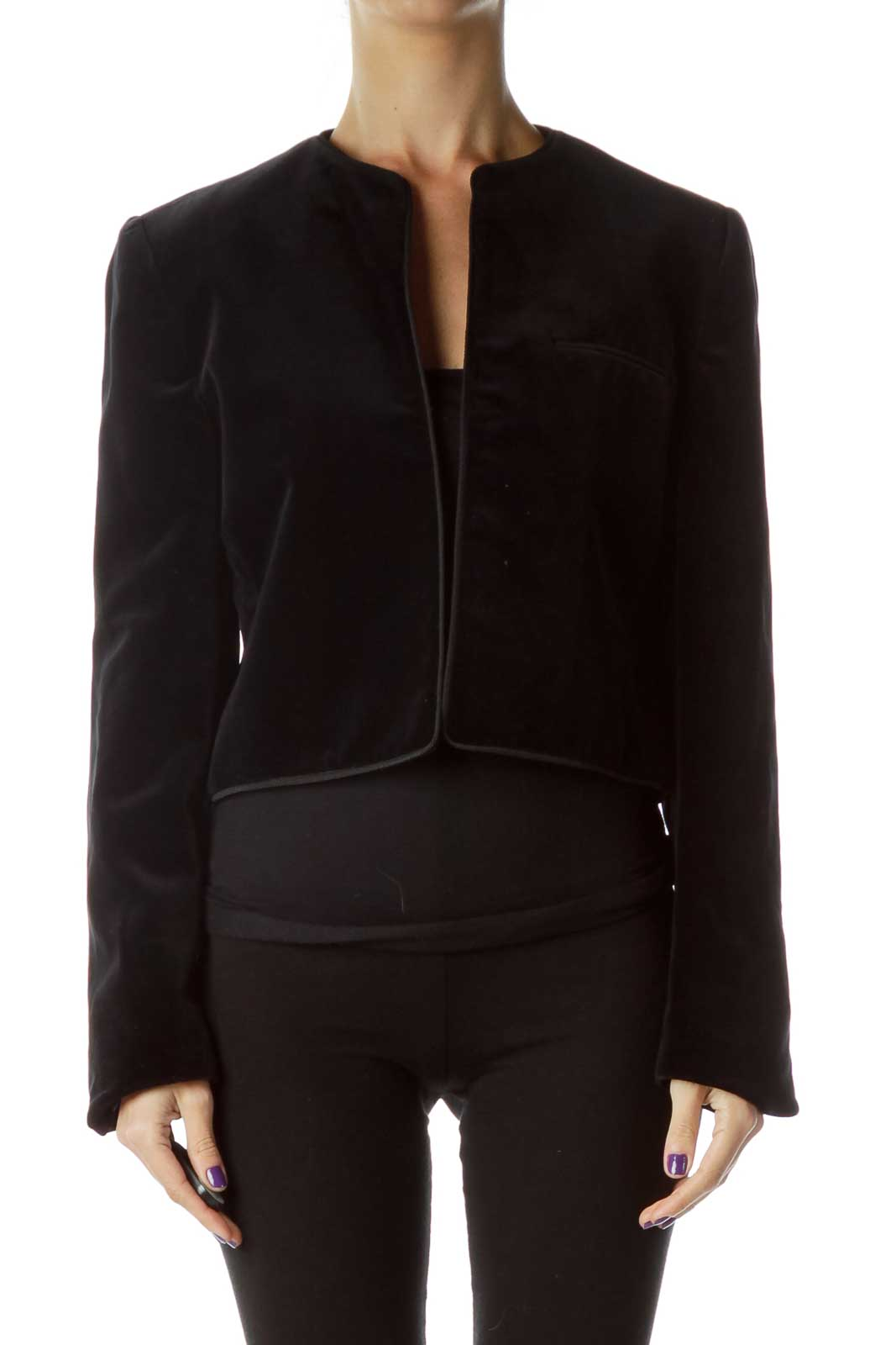 Navy Velvet Jacket with Trim Detail