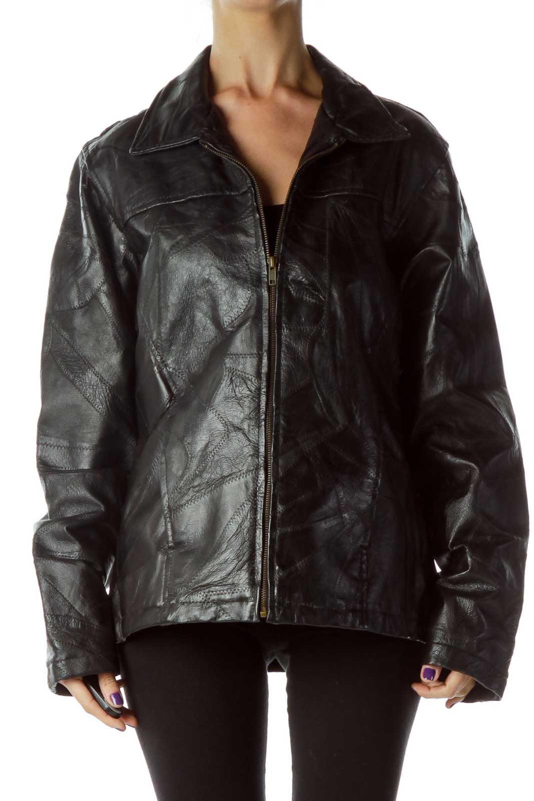 Black Leather Jacket with Quilted Detail