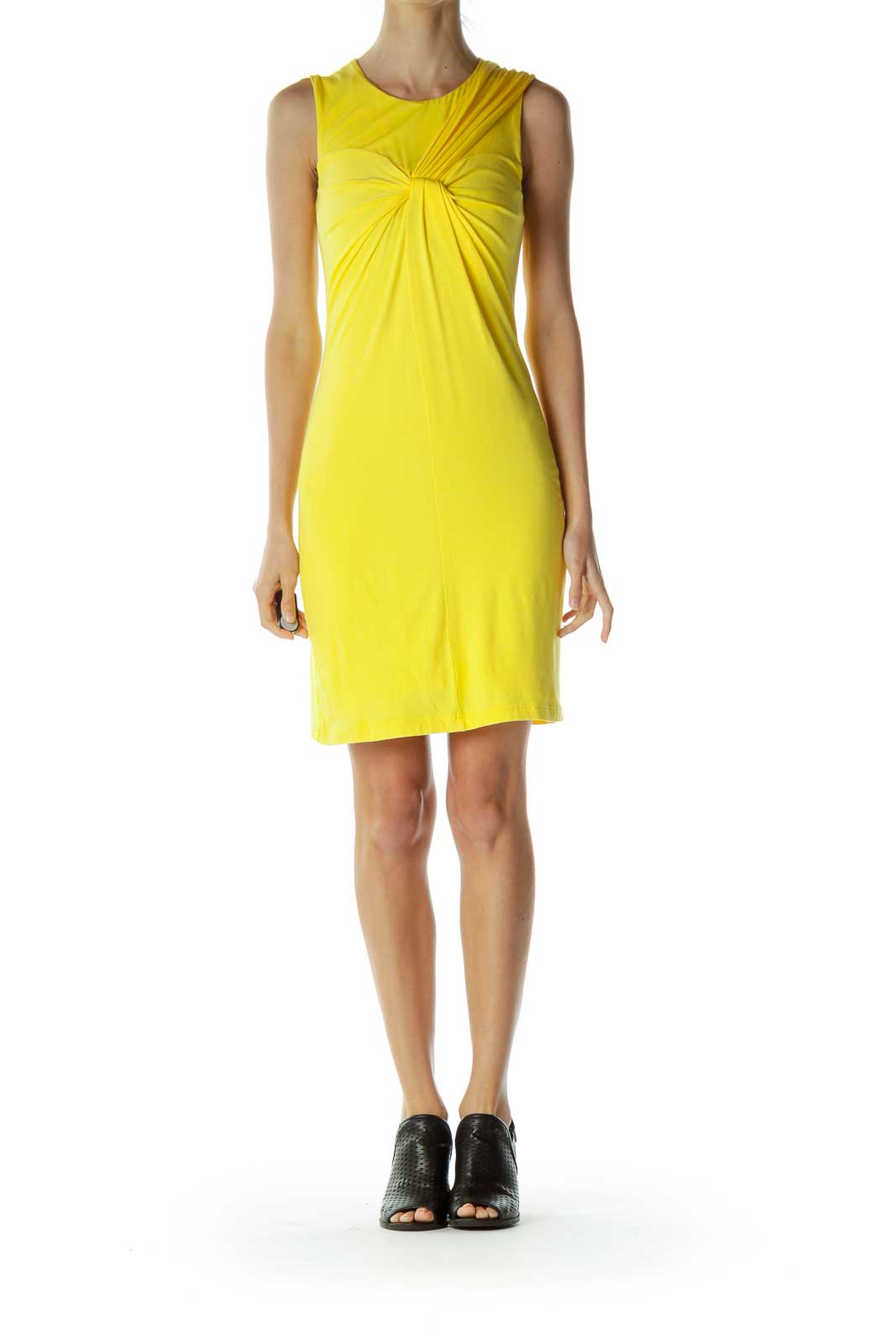 Yellow Scrunch Detailed Jersey Dress
