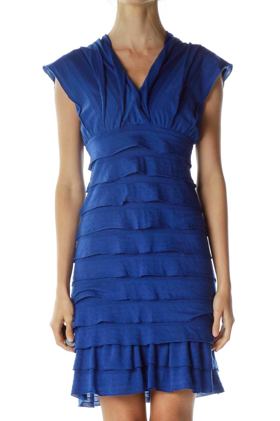 Blue V-neck Ruffled Dress