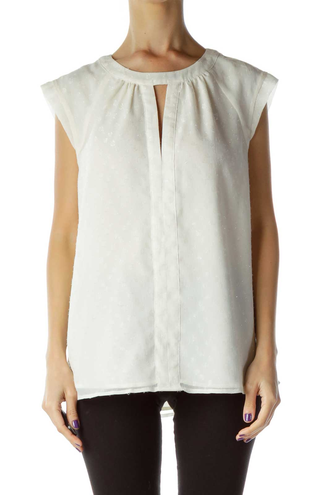 Cream Sleeveless Blouse with Shiny Detail