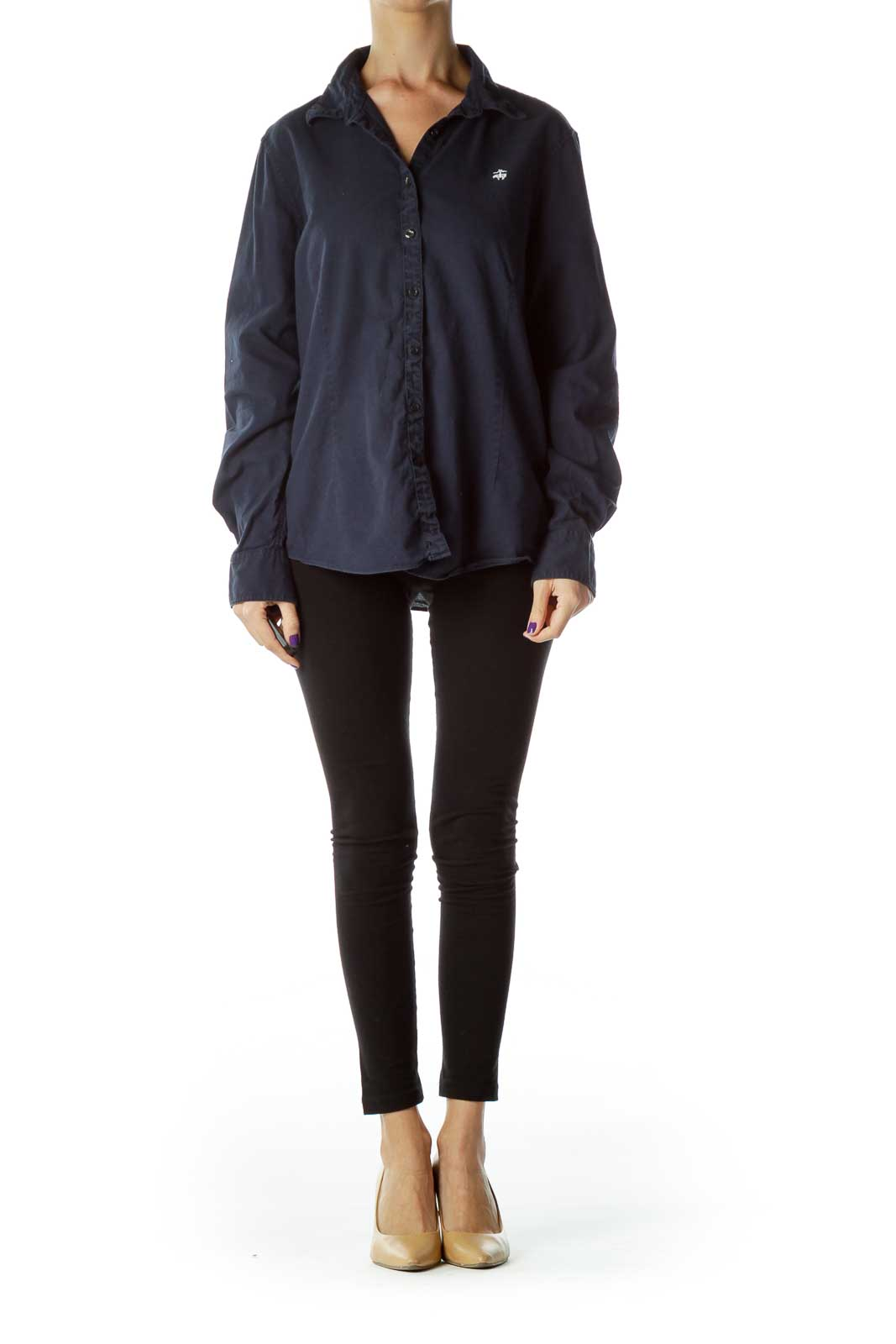 Navy Buttoned Collared Shirt