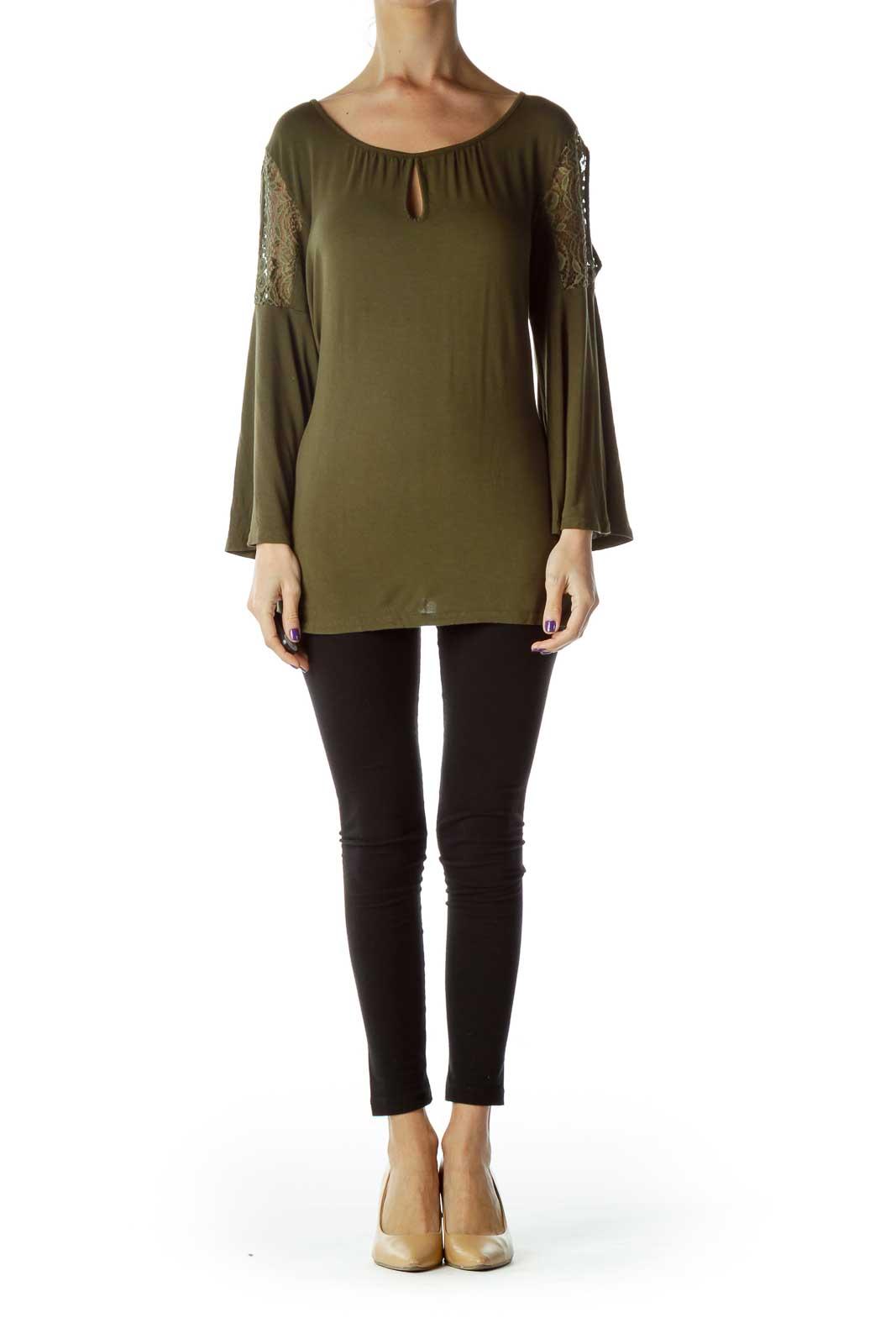 Green Lace Cold Shoulder Blouse